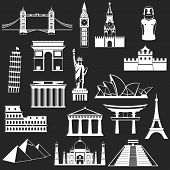 stock photo of world-famous  - World famous buildings abstract silhouettes  - JPG