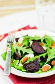 stock photo of rocket salad  - Roast Beetroot Almond Feta and Rocket Salad copy space for your text - JPG