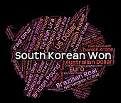 picture of korean  - South Korean Won Representing Currency Exchange And Forex - JPG