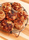 picture of meatball  - Fried meatballs shot from above on wooden background - JPG