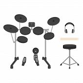 foto of drum-set  - Electronic drum set with drum throne - JPG