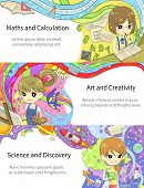 stock photo of math  - Stylish colorful infographic cartoon girl children studying maths and calculation art and creativity science and discovery in artistic fantasy banner background template layout design create by vector - JPG