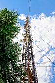 foto of antenna  - High mast with lots of cellular antennas - JPG
