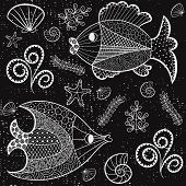 picture of shell-fishes  - Illustration with beautiful fish starfish shells and algae - JPG