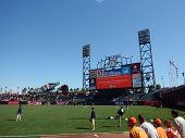 Padres Players Warm Up For Game In Outfield During Batting Practice