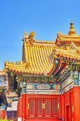 stock photo of lamas  - Beautiful View of Yonghegong Lama Temple - JPG