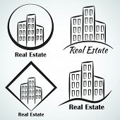 Real Estate company vector logotype icon poster