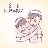 stock photo of eid festival celebration  - Cute Muslim boys hugging and wishing each other on occasion of Islamic festival - JPG