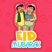 stock photo of eid festival celebration  - Young religious Muslim men wishing and giving gifts to each other on occasion of Islamic holy festival - JPG