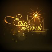picture of eid festival celebration  - Beautiful greeting card design with golden wishing text Eid Mubarak and mosque for holy festival of Muslim community - JPG