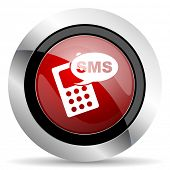 foto of sms  - sms red glossy web icon original modern design for web and mobile app on white background  - JPG