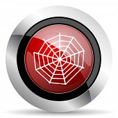 stock photo of spider web  - spider web red glossy web icon original modern design for web and mobile app on white background  - JPG