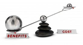 stock photo of seesaw  - Two spheres with different sizes on a seesaw plus two signs cost and benefits over white background marketing analysis concept or symbol - JPG
