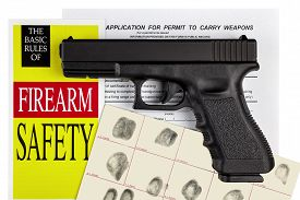 image of handgun  - Pistol Handgun with Firearm Application and Concealed Weapons Permit CCW with Fingerprint ID - JPG