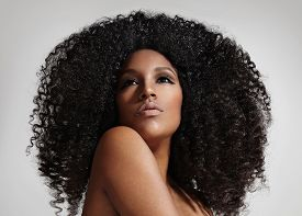picture of afro hair  - woman with a big affro hair  - JPG