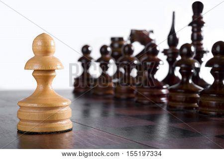 White pawn against