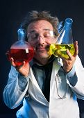 Scientist in love with his chemical research