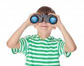 Boy Holding Binoculars