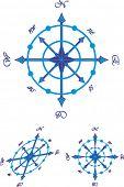 Navigating sea compass. The vector image.
