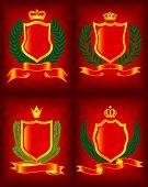 Four heraldic escutcheon. The vector image.