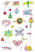Bugs and Flowers  - set of spring illustrations.  To see similar design elements,  please visit my g