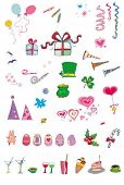 série de conjunto de ícones de festa e férias. Ilustração vetorial com muitas coisas para a celebração e feriados