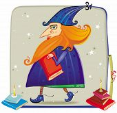 An illustration of a friendly wizard, with his books.