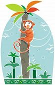 Colorful illustration of little monkey climbing on top of the palm. To see similar illustrations, pl