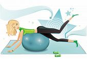 Blond woman exercising with a pilates ball. To see similar, please visit my gallery.