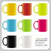 8 colored mugs with abstract summer drawings. To see similar,  please VISIT MY PORTFOLIO