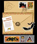 Halloween stamps and vintage envelope with wax seal. Isolated on White.