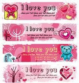 Vector set of 4 Grunge banners for Valentine's day. With space for your text