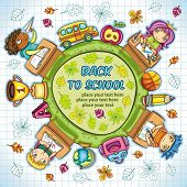 Colorful round composition, with cute schoolchildren and school design elements. with space for your