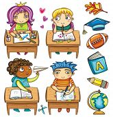 Group of cute, little schoolchildren, sitting at the desks and colorful icons