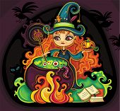 Vector illustration of young funny witch is cooking something poisonous in her cauldron, at Hallowee