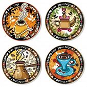 Grunge collection of drink coasters - coffee, tea, yerba mate theme, isolated on white background 4
