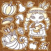 Thanksgiving elements on the wooden background. Grunge.  Native girl with turkey in her hands Cornucopia, vegetables, fruits.