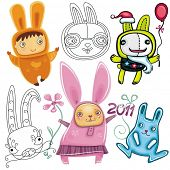 Vector set of different cute Rabbits.  Rabbit, a symbol of 2011, according to the Chinese calendar