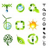 Green living vector icon set.