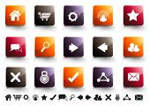 A collection of 15 internet and website icons in high gloss finish.