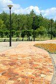 stock photo of pavestone  - Pavestone Walkway in Astana  sity park - JPG
