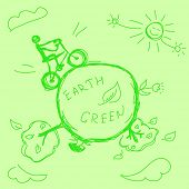 hand drawn green earth vector. Visit my portfolio for big collection of doodles
