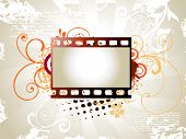 vector art of photo reel with floral background