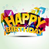 pic of happy birthday card  - funky birthday style vector illustration - JPG