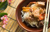 image of stir fry  - Thai fish curry with rice noodles and vegetables - JPG