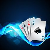 pic of playing card  - playing cards on beautiful glowing blue background - JPG