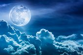 Nighttime Sky With Clouds And Bright Full Moon With Shiny. poster