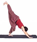 Yoga Excercising Eka Pada Adho Mukha Shvanasana Pose