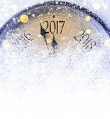Countdown to midnight. Retro style clock counting last moments before Christmas or New Year 2017. poster