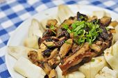 image of brinjal  - Unique Chinese style brinjal dish with generous mushroom topping - JPG